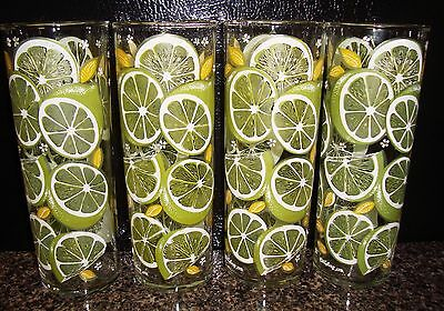 CULVER CITRUS lime tall iced tea glasses skyball zombie SET OF 4 SIGNED green
