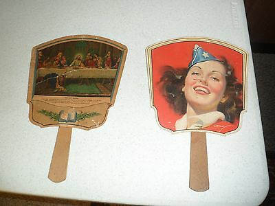 Two (2) Vintage Paper Advertising Fans