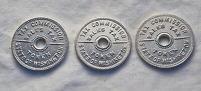 Three Vintage Washington State Tax Tokens - Nice Condition!