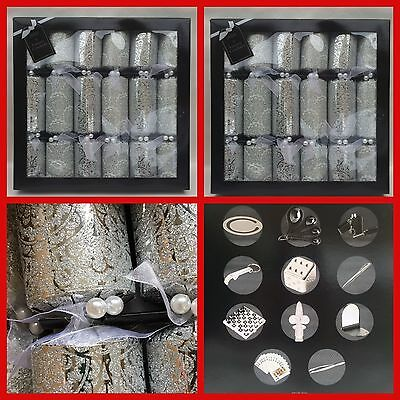 12 Luxury Christmas /xmas Crackers Silver Glittered With Embellishments