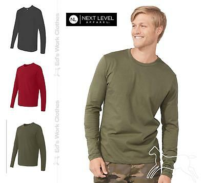 Next Level Mens Premium Fitted Cotton Long Sleeve Crew T Shirt 3601 Up to 2XL
