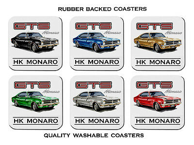 68  Holden  Hk  Gts  Monaro           Set Of  6   Rubber Drink  Coasters