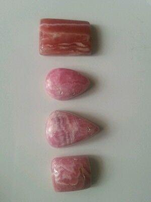 95cts Rhodochrosite Cabochons 4 piece Lot Cousion, Teardrops and Rectangular