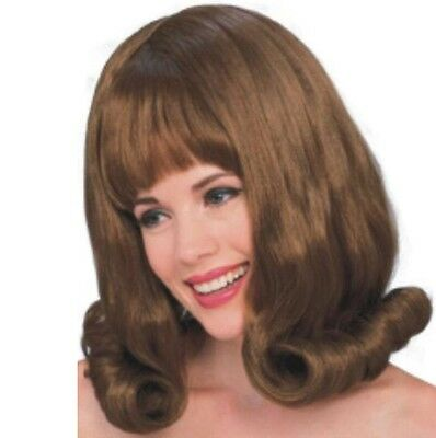 Wig - 60's Flip - Brunette - Adult - One-Size-Fits Most - Hairspray Grease Brown