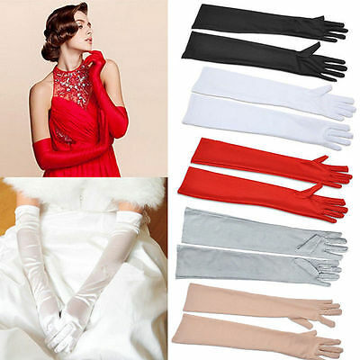 Ladies Long Satin Gloves Opera Wedding Bridal Evening Party Prom Costume Gloves