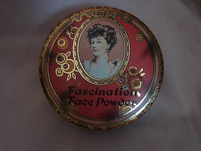 "Vintage Fascination Face Powder Tin Daher Decorated Ware #11101 England 5-1/2"" w"