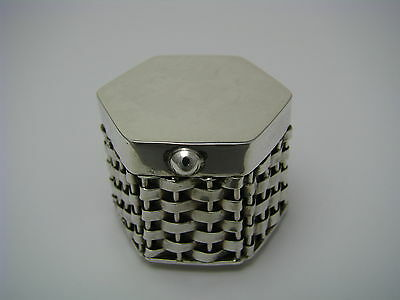 A TAXCO STERLING SILVER PILL BOX PILLBOX BRAIDED SILVER STRUCTURE Mexico ca1970s