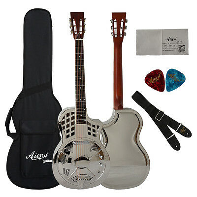 Cutway Brass Single Cone Electrical Parlour Acoustic Resonator Guitar TRG-10CE