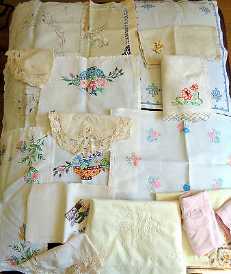 Job Lot Vintage Embroidered Table Cloth Runners Mats Tray Cloths Etc 16 items