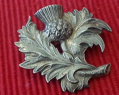 vintage solid silver Scottish thistle brooch, h.mark. Birm.1948, signed D.S,