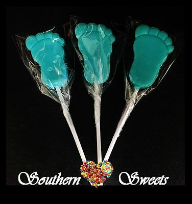 24Ct Baby Blue Footprint Lollipops Blue Lollies Pops Baby Shower Gluten Free