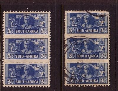 SOUTH AFRICA....  1942 war effort   3d  x2 blocks of 3 mint and used