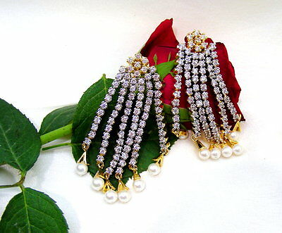 Handmade Cubic Zirconia Carved Fresh Pearl Droplets Gold Plated Tassel Earrings