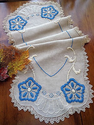 Large Antique Rustic Embroidered RUNNER Natural Dark Heavy Linen - Blue & Cream