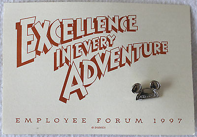 """Disney Employee Forum 1997 Mickey Mouse Ears Silver """"Excellence"""" Pin - Mint"""