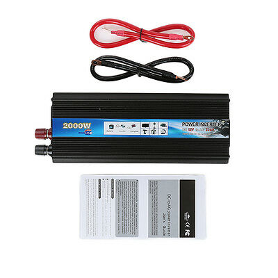 2000W Car Vehicle DC 12V AC 220V Power Inverter Converter Electronic USB Port CF