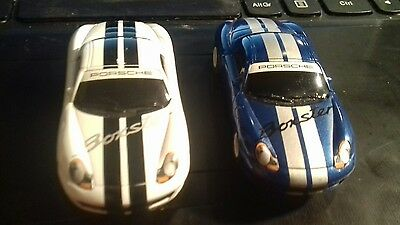 2 Hornby MICRO Scalextric Cars - One Blue One White Porsche Boxsters