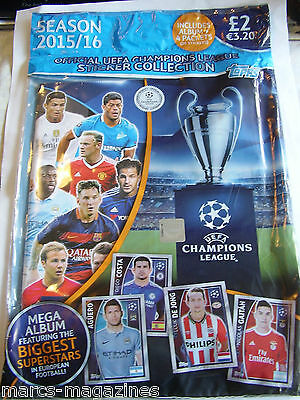 Uefa Champions Football Soccer 2015 2016 Topps Sticker Album Book & 31 Stickers