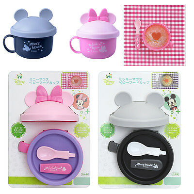 Disney Mickey Minnie Baby Food Carrying Cup Container Spoon Set Japan R5