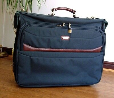 Travel Executive Garment Case Suit Carrier Green / Brown Business Luggage