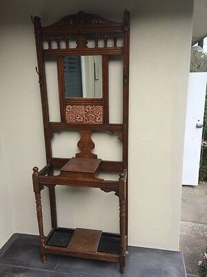 Antique timber coat and hat stand, walnut colour