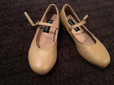 Energetiks girls tan Leather size 4.5 Tap dance shoes