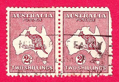Australia Stamps. KGV 1935 2 Shilling Maroon Roo Pair. SG134. Used. #3638