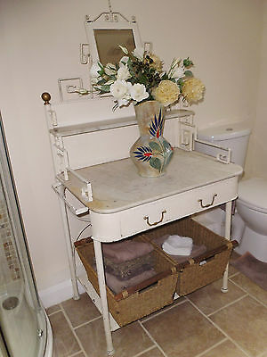ART DECO ANTIQUE WASH STAND wrought iron-metal-marble shelves & mirror CREAM