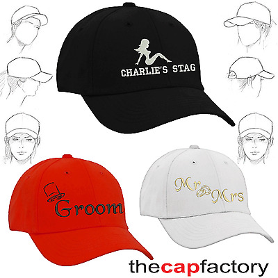 Personalised Embroidered Baseball Cap Stag Hen Wedding Party Name Group Team