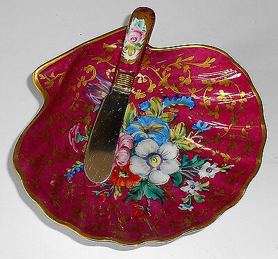 Limoges Hand Painted Shell Butter Dish & Matching Butter Knife