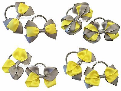 Grey and yellow hair bows, thick bobbles, ribbon hair accessories, hair clips