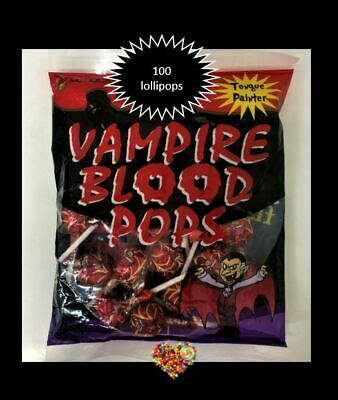 Vampire Blood Pops 2 Jars 140Ct Tongue Painter Halloween Lollies Lollipops