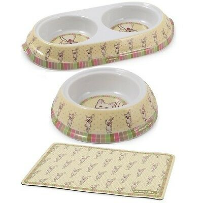 Ancol Lulu Cat Kitten Feeding Dish, Single / Twin Food Water Bowl - Separate Mat