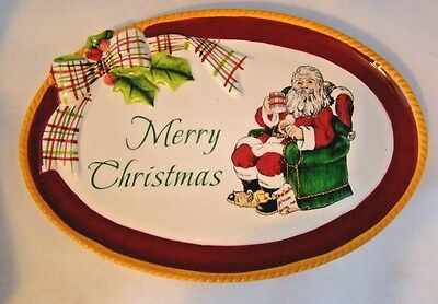 Fitz and Floyd Dear Santa Merry Christmas Plate Snack Canape Cookies