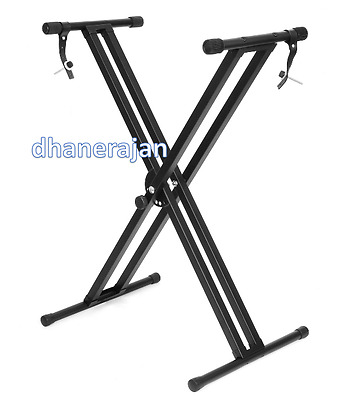 Black Matel Straps Music Accessories Foldable Double X Frame Keyboard Stand