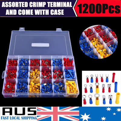 1200Pcs Assorted Insulated Electrical Wire Terminal Crimp Spade Connector Kit Bo