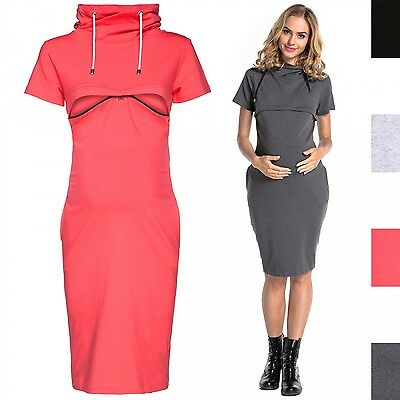 Happy Mama. Women's Maternity Nursing Turtle Neck Sweatshirt Dress Layered. 297p