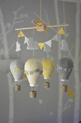 Baby mobile for childs nursery - Hot Air Balloons in Lemon and Grey