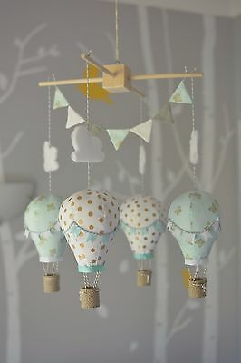 Baby mobile for child's nursery - Hot Air Balloons in Mint Gold and White