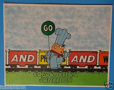 Hand Painted Schoolhouse Rock Conjunction Junction Animation Cel Cell Art
