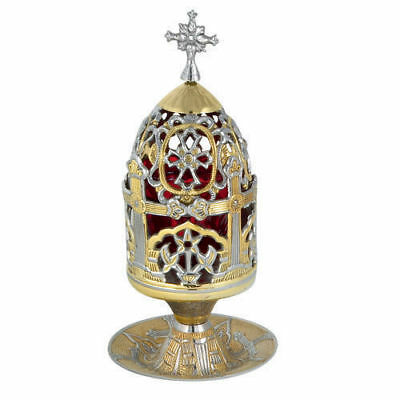Two-Colored Brass High Quality Standing Vigil Oil Lamp Greek Orthodox Kandili