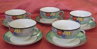 Vintage Luster Ware Coffee Cups & Saucers (5) - Hand Painted - Made in Japan