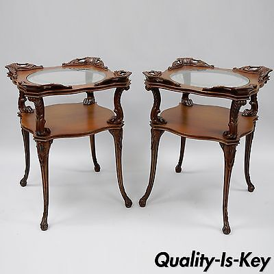 Pair of Vintage Traditional Regency Plume Carved Mahogany End Tables Glass Top