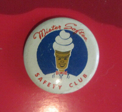 Mister Softee Safety Club Celluloid Pinback Ice Cream 7/8 Diameter Pinback