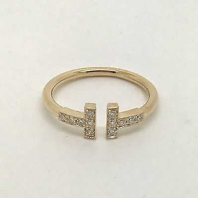 Tiffany & Co T Wire Ring 18k Yellow Gold with Diamonds