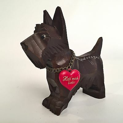 "Vtg German Hand Carved Wood Scottish Terrier Dog Scottie ""Hab Mich Lieb"" Love Me"