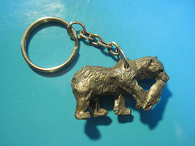 BEAR WITH FISH IN MOUTH  -  keychain