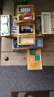 wooden sewing box complete with items