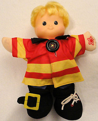 Fisher Price Little People Talking Eddie Fireman Doll Learn To Dress Works EUC