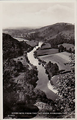 RIVER WYE FROM THE YAT ROCK, SYMONDS YAT, HEREFORD : REAL PHOTO POSTCARD (1950s)